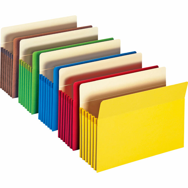 "File Pocket, Straight-Cut Tab, 5-1/4"" Expansion, Letter, Assorted Colors"