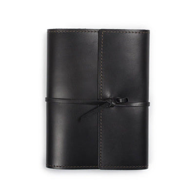 Writers Log Large Refillable Leather Notebook - Black
