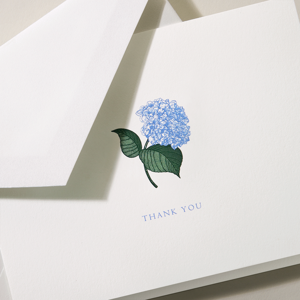 ENGRAVED HYDRANGEA THANK YOU NOTE Card