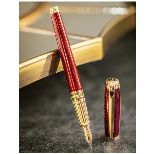 S.T. Dupont Line D Large Diamond Guilloche - Ruby