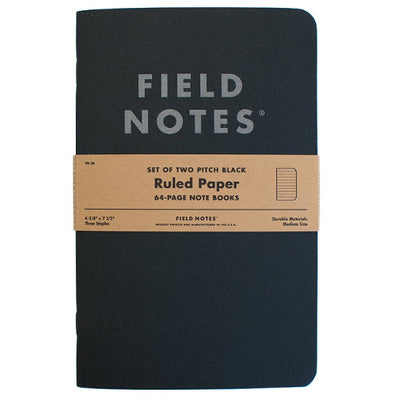 "Field Notes Pitch Black Note Book, Ruled, 2-Pack, 4-3/4"" x 7-1/2"""