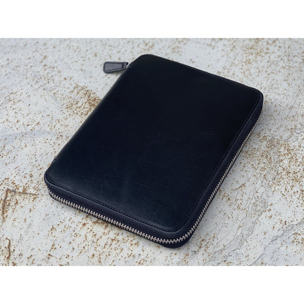 Galen Leather Zipped A5 Notebook Folio - Black