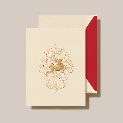 LEAPING REINDEER HOLIDAY GREETING CARD