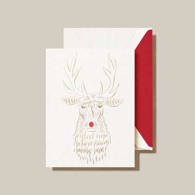 ENGRAVED CALLIGRAPHIC REINDEER HOLIDAY CARD