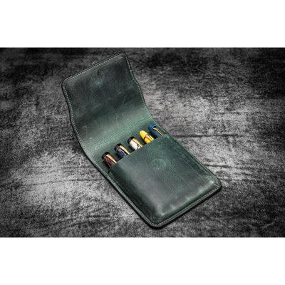 Galen Leather 5 Pen Flap Case - Crazy Horse Forest Green