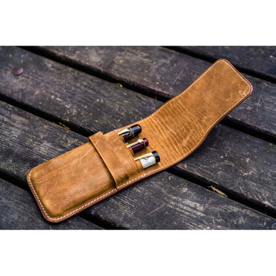 Galen Leather Three Pen Flap Case - Crazy Horse Brown