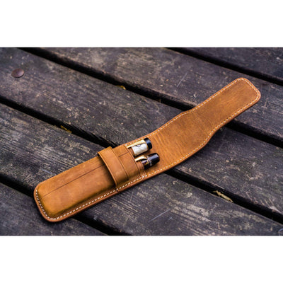 Galen Leather Two Pen Flap Case - Crazy Horse Brown