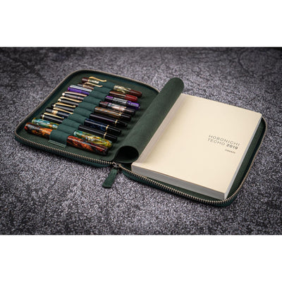 Galen Leather 10 Pen Zipper Case with A5 Notebook Holder - Crazy Horse Green