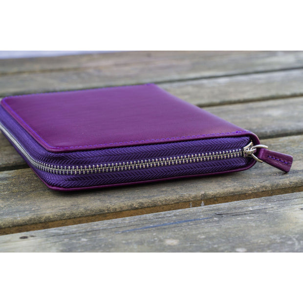 Galen Leather 5 Pen Zipper Case - Purple