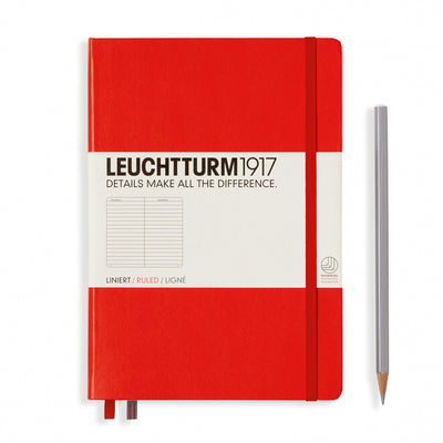 Leuchtturm A5 Hardcover Notebook - Red - Ruled