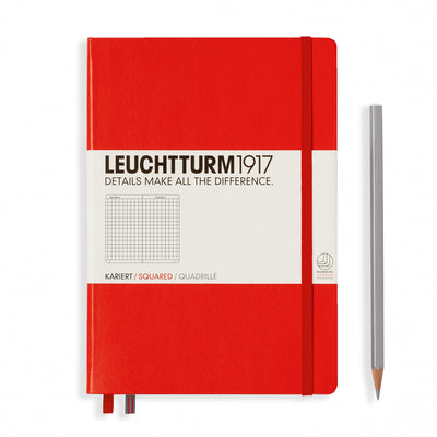 Leuchtturm A5 Hardcover Notebook - Red - Squared