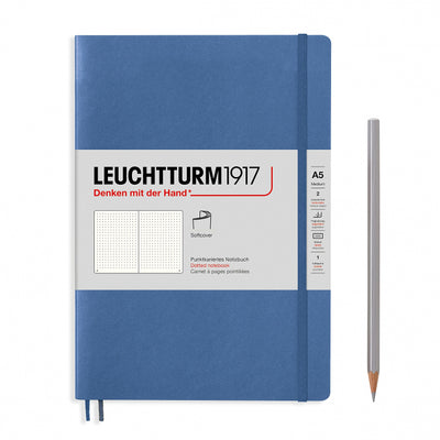 Leuchtturm A5 Softcover Notebook - Denim - Dot Grid