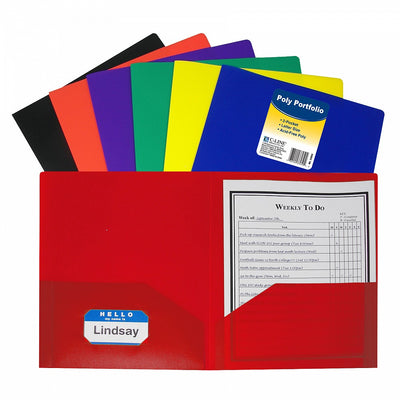 Two-Pocket Heavyweight Poly Portfolio Folder - Assorted Colors