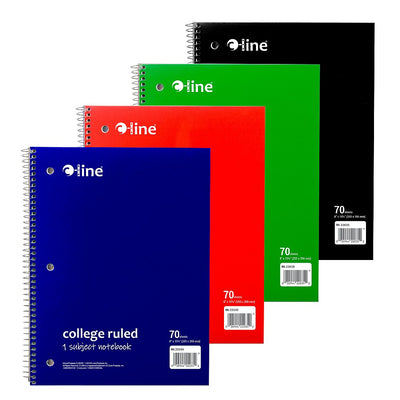 1-Subject Notebook College Ruled 3-Hole Punched, 8 x 10-1/2, Assorted Colors