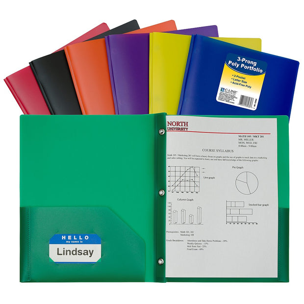 Two-Pocket Heavyweight Poly Portfolio Folder with Prongs - Assorted Colors