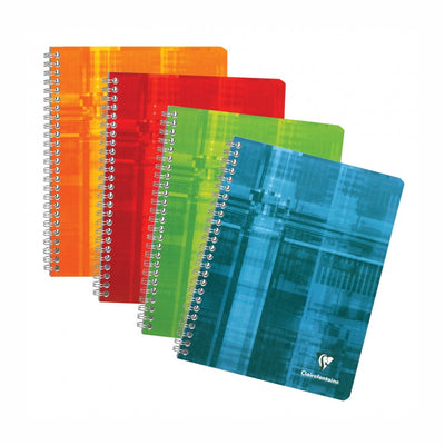 Clairefontaine Wirebound Notebook - Graph w/12 tabs 60 sheets - 6 3/4 x 8 3/4 - Assorted