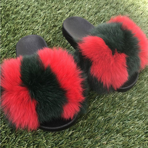 8717a5e05f7 Split GG Fox Fur Slides (Green Red)