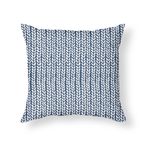Knit Wave Navy Blue Throw Pillow