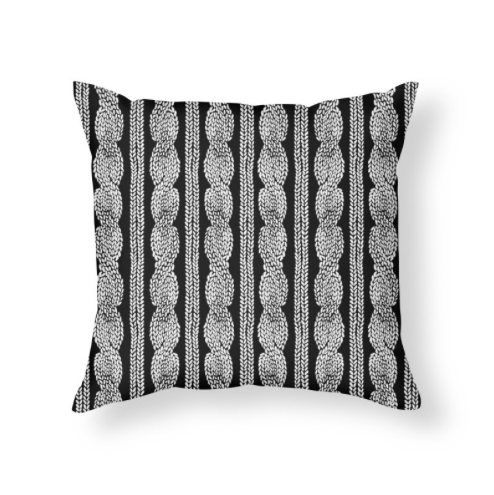 Cable Knit Row Black and White Throw Pillow