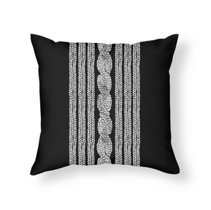 Cable Knit Black and White Throw Pillow