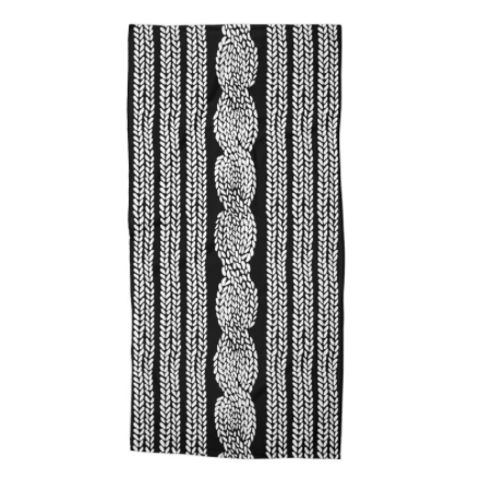 Cable Knit Black Beach Towel