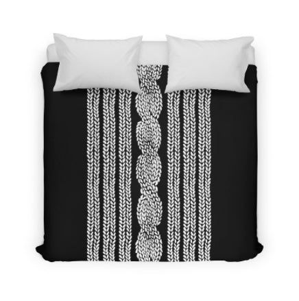 Black Cable Knit Duvet Cover