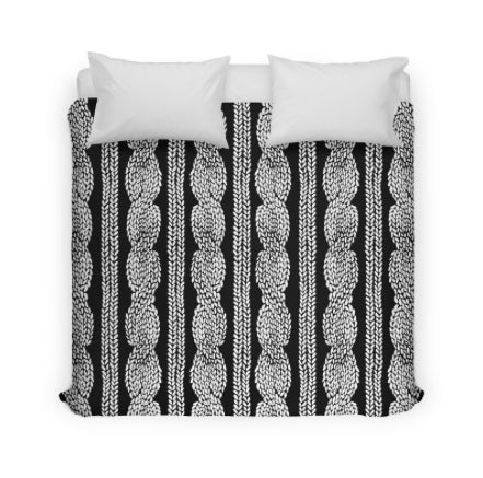 Black Cable Knitted Duvet Cover