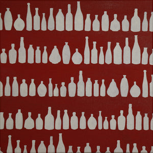 "Bottles - Original Painting 20""x20"" - Acrylic on Canvas"
