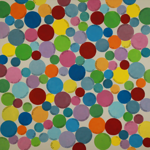 "Word Bubbles - Original Painting 40""x40"" - Acrylic on Canvas"
