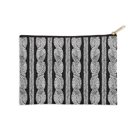 Cable Knit Black and White Pouch