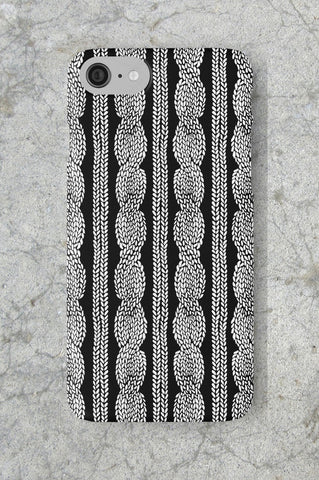 Cable Knit Black Phone Case