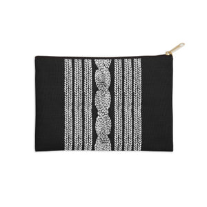 Cable Knitted Black and White Pouch