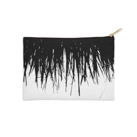 Fringe Palm Frond Black and White Pouch