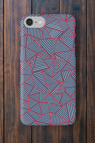 Geometric Navy Blue and Red Phone Case