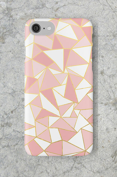 Geometric Blush Pink and Gold Phone Case