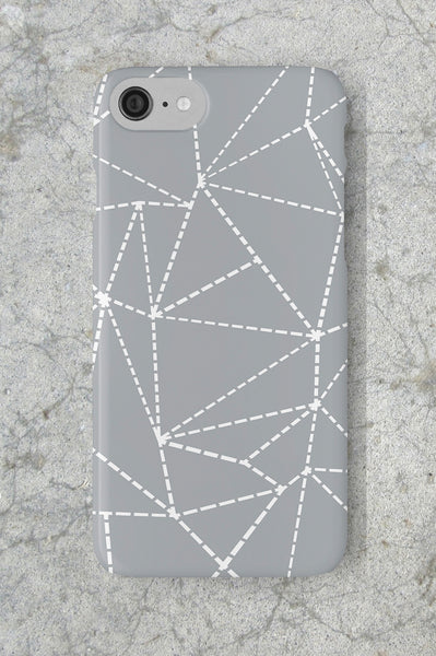 Geometric Dotted Lines in Grey Phone Case