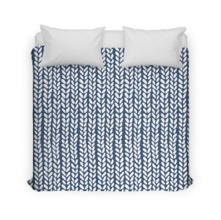 Navy Blue Knit Duvet Cover