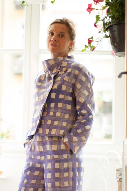 Blue Checked Linen Jacket