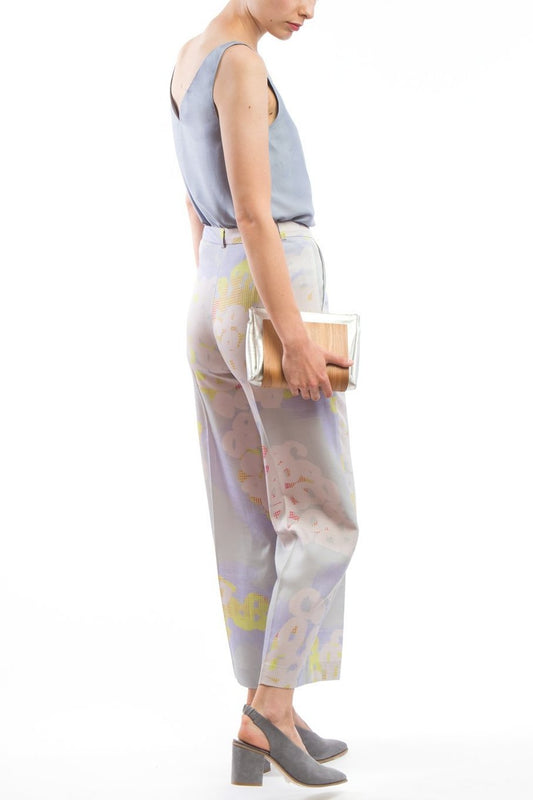 Wide Pants Grey Print