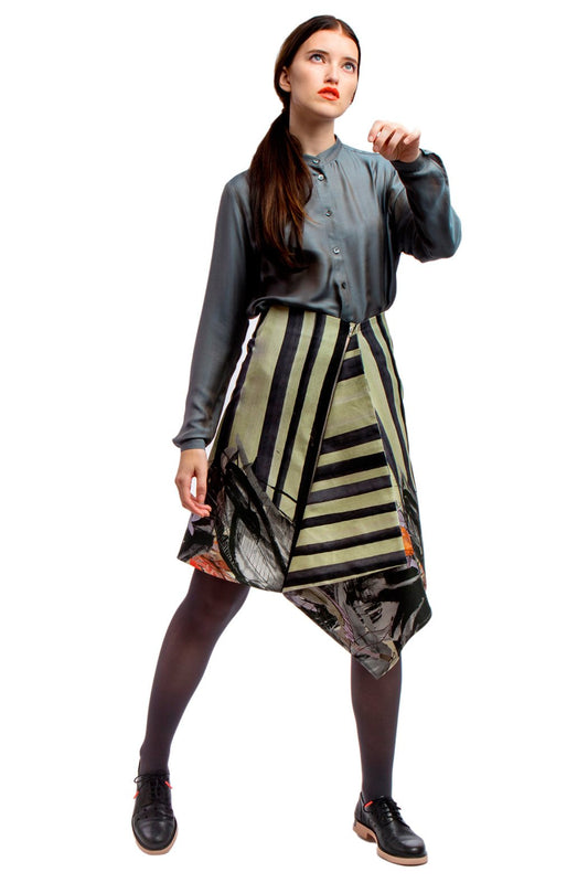 Asymmetric Skirt Printed