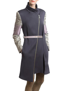 Wool Coat in Grey Silver