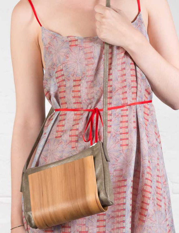 Wooden Shoulder Bag in Metallic Grey Leather