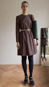 Cotton dress with brown print