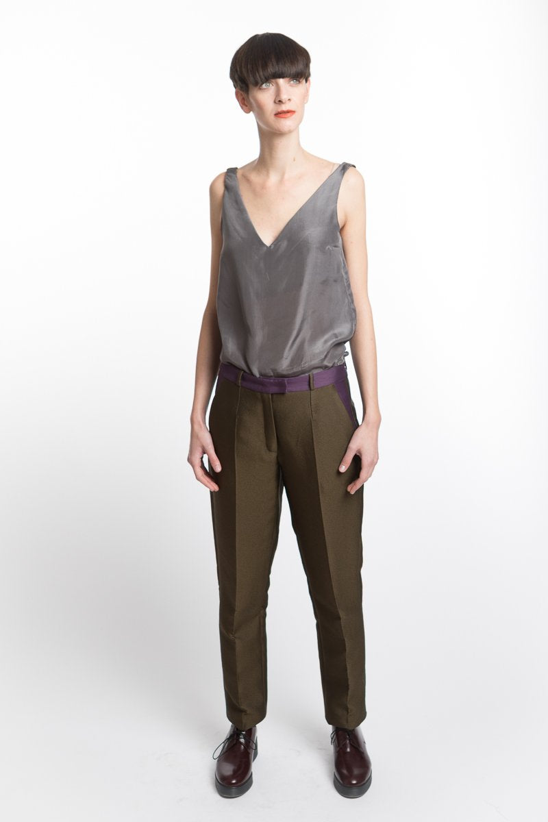 Trousers Slim Green Purple