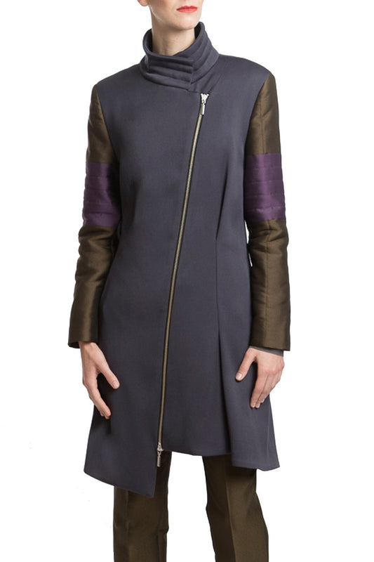 Wool Coat in Grey with Green and Purple Sleeves