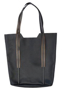 Leather-Shopper Black-Bronze