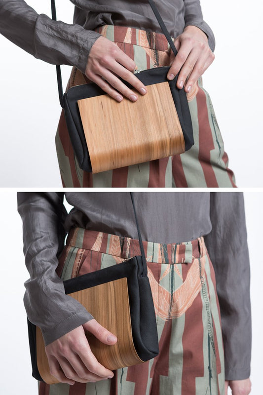 Wooden Shoulder Bag in Night Blue
