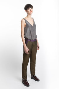 V-neck Grey Silk