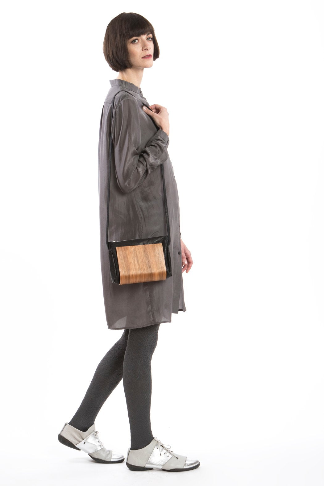 Wooden Bag Black Leather