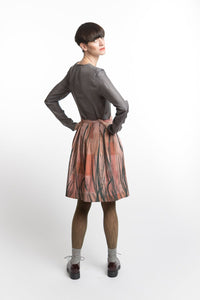 Pleated Skirt Feather Print
